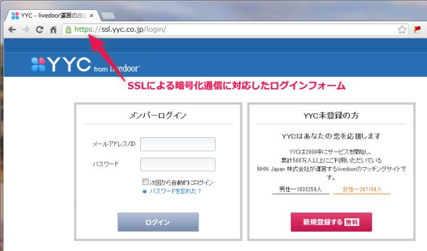 SSLに対応した安全性の高いログインフォーム